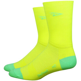 "DeFeet Aireator 5"" Double Cuff Socken d-logo/hi-vis yellow w/hi-vis green"